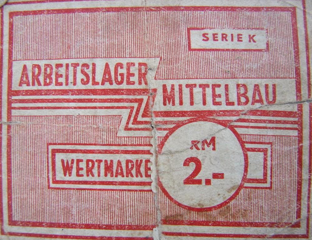 Banknot zastępczy obozu koncentracyjnego Mittelbau-Dora, pamiątka Stanisława Brzezińskiego z Koczwary k. Końskich - pancerniaka od Maczka.