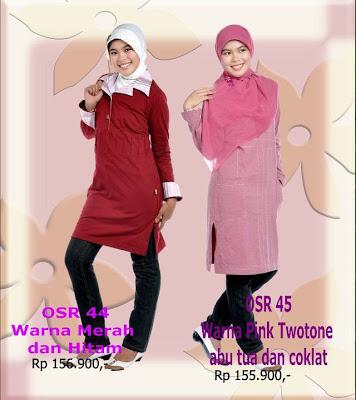Model Baju Kaos Muslim Osmoes Merah Hitam dan Pink Twotone Abu Tua Coklat