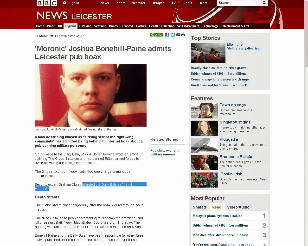 Joshua Bonehill - Moronic hoaxer