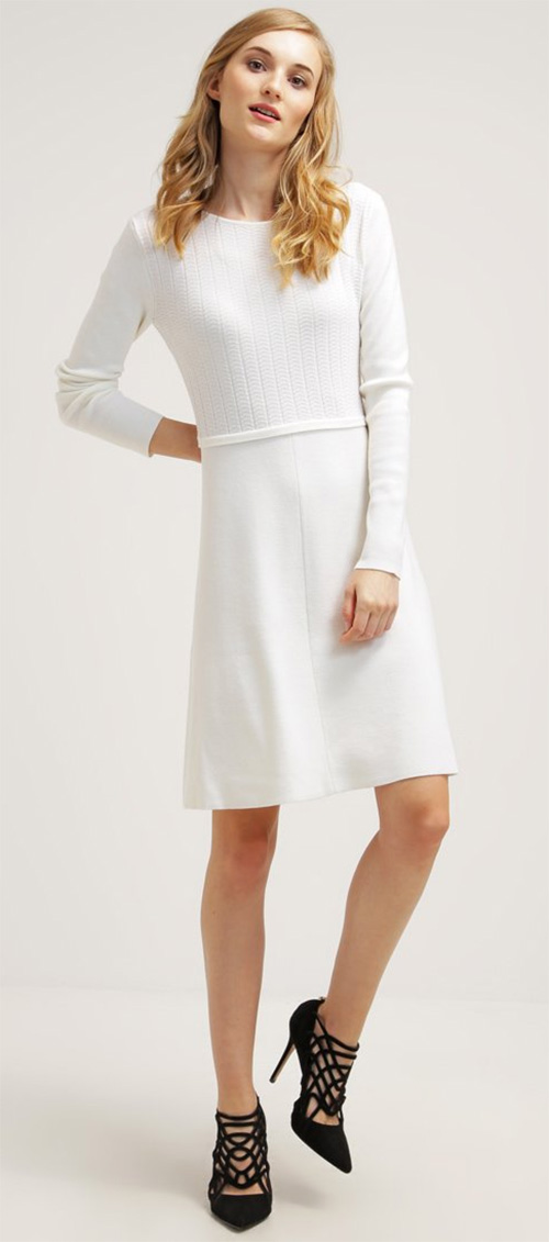 Robe pull midi blanche en laine Strenesse