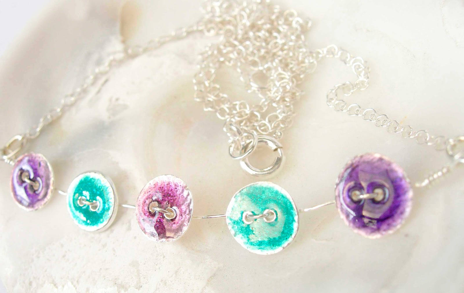 Tiny Silver Button Necklace in Purples and Green Glass Enamels