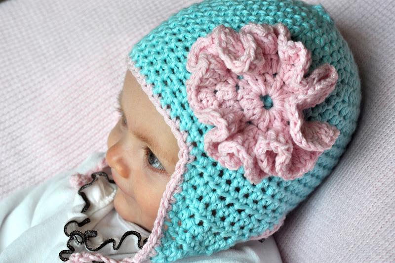 Aesthetic Nest Crochet Ruffled Rose Earflap Hat For Baby Pattern