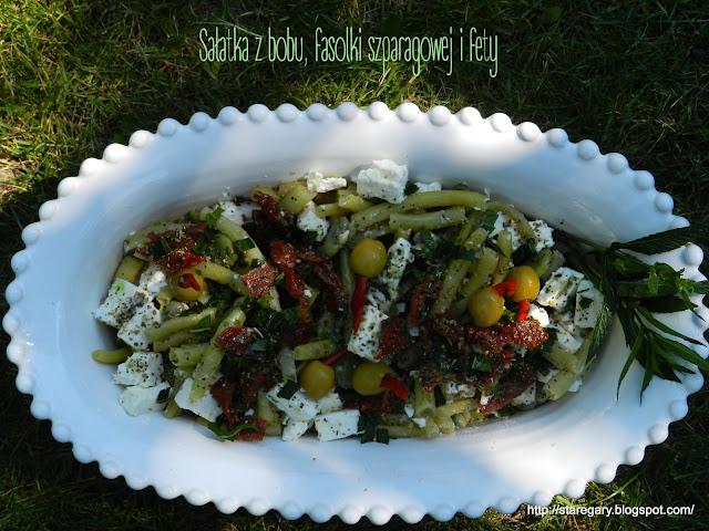 Sałatka z bobu, fasolki szparagowej i fety