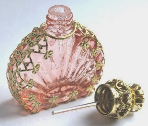Czech Vistorian Style Decorative Light Pink Glass Perfume/oil/holy Water Bottle Holder