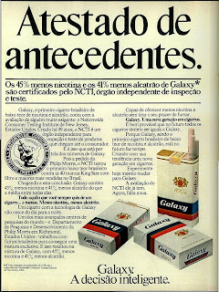 Propaganda de cigarros Galaxy - 1979.  anos 70, propaganda de cigarros anos 70. história anos 70, reclames anos 70. oswaldo Hernandez.
