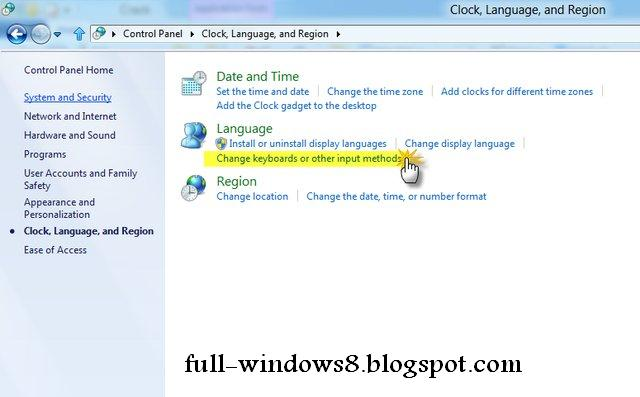 how to set keyboard to default windows 8