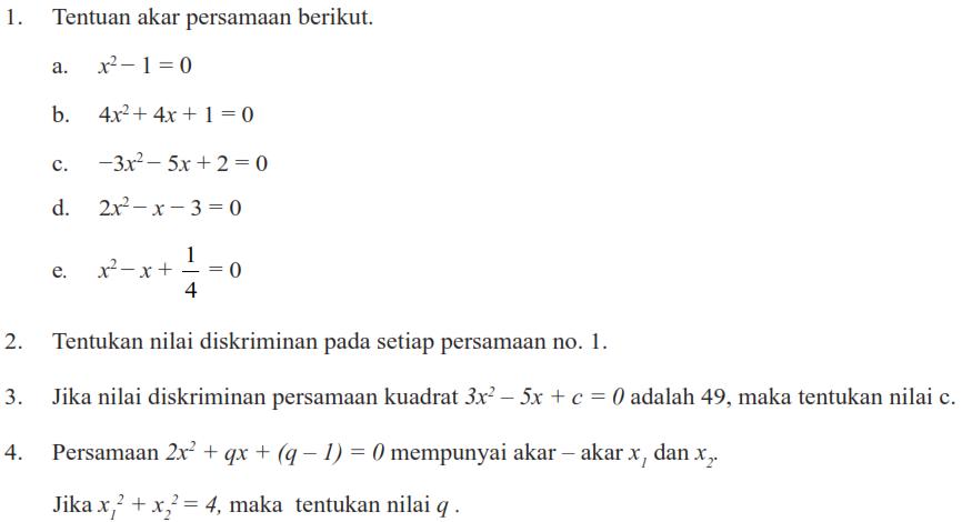Latihan 2 Persamaan Kuadrat Matematika