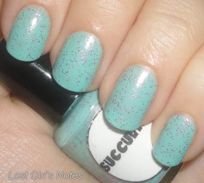aqua daisy succulent nail polish swatch