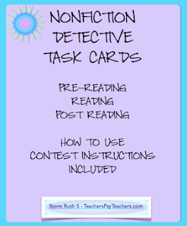 photo of Nonfiction Detective Task Cards PDF File task cards Ruth S. Teacher Park