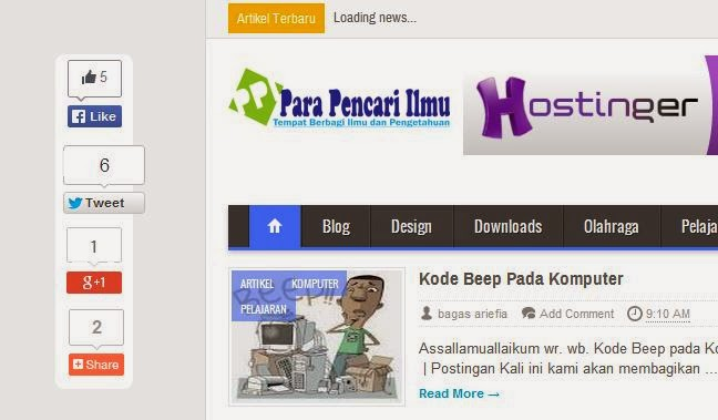 Cara Membuat Button Like, Tweet dan G+ Melayang di Blog