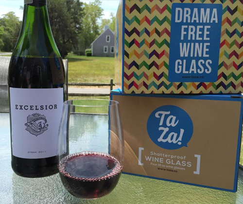 Ta Za! Unbreakable Wine Glasses with Excelsior 2011 Syrah