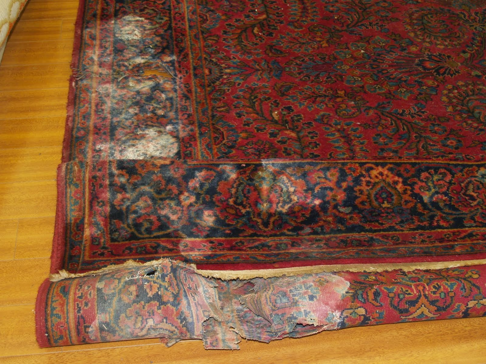 We Removed All The Rotten And Damaged Ares And Down Sized The Rug. And Then  Hand Washed It. The Result Was A Good Looking Like A Brand New Karastan Rug.