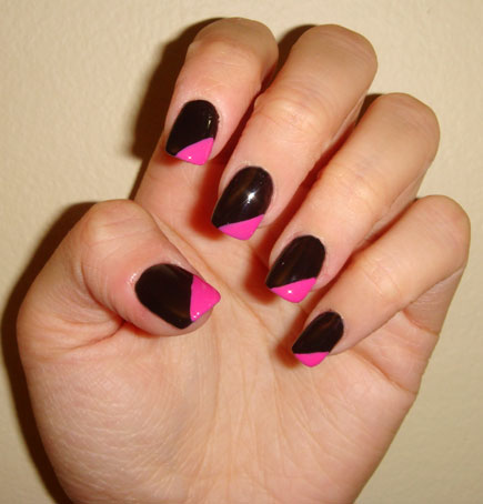 black and pink nail design