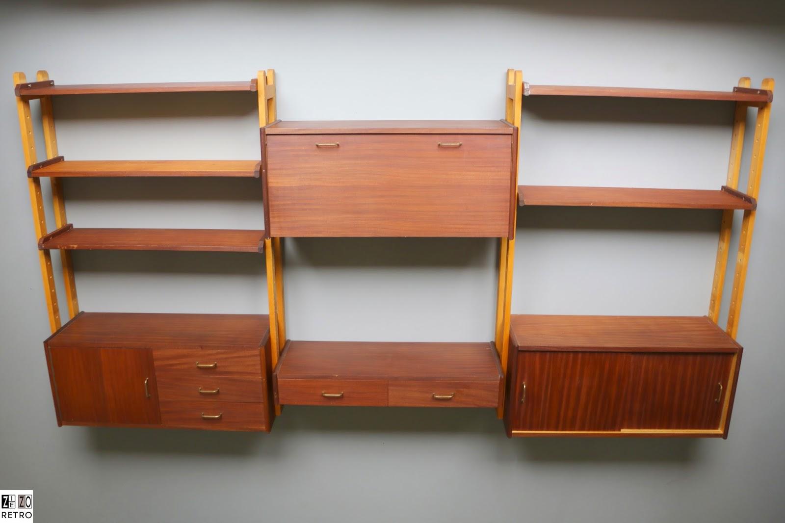 Vintage retro wandsysteem kast wall unit system van for Jaren 60 meubelen
