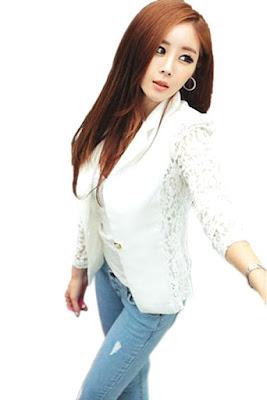 Model Jas Wanita Korea Warna Putih Bahan Katun