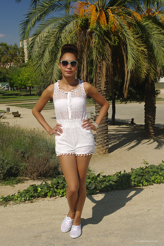 Styling a white lace pom pom playsuit