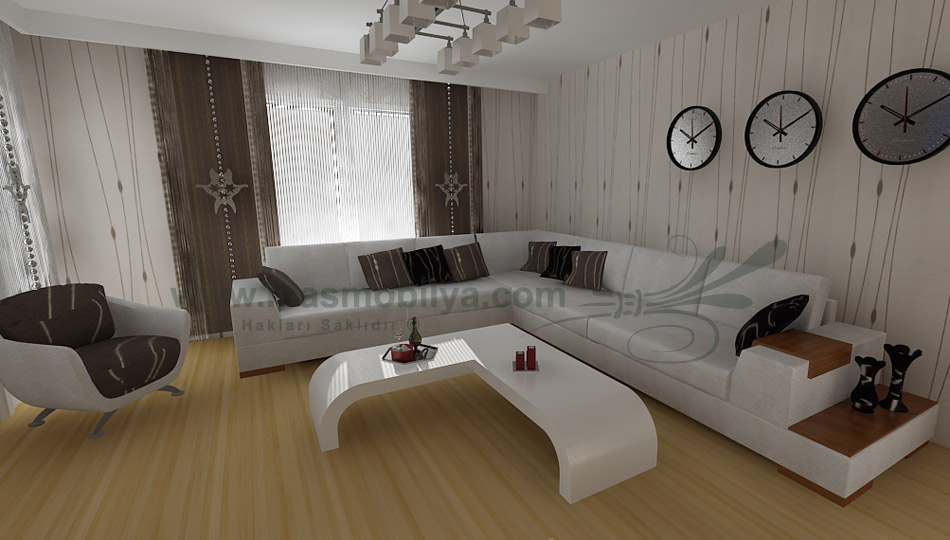 Small Modern Living Room Design With Wooden Floor