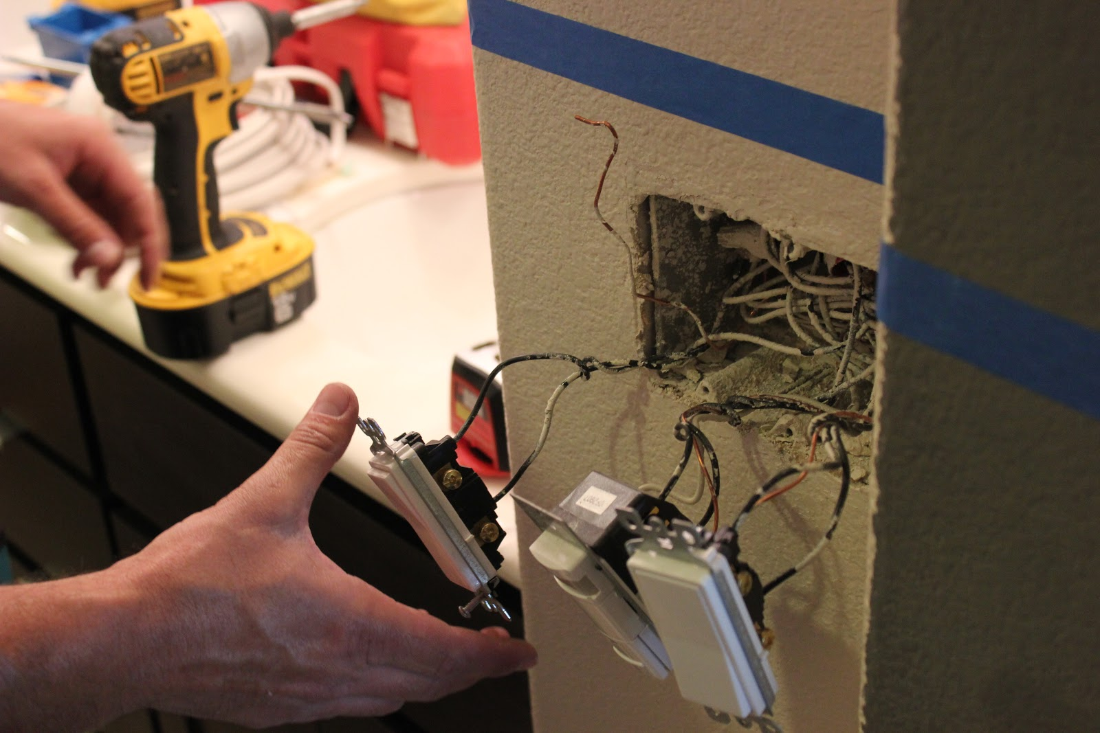 Bathroom Light Goes Off And On inside the frame: the master bathroom project | wiring new