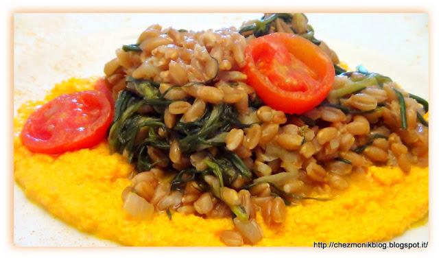 farro agli agretti con mousse di ricotta e carote (primo piatto) menu frank sinatra