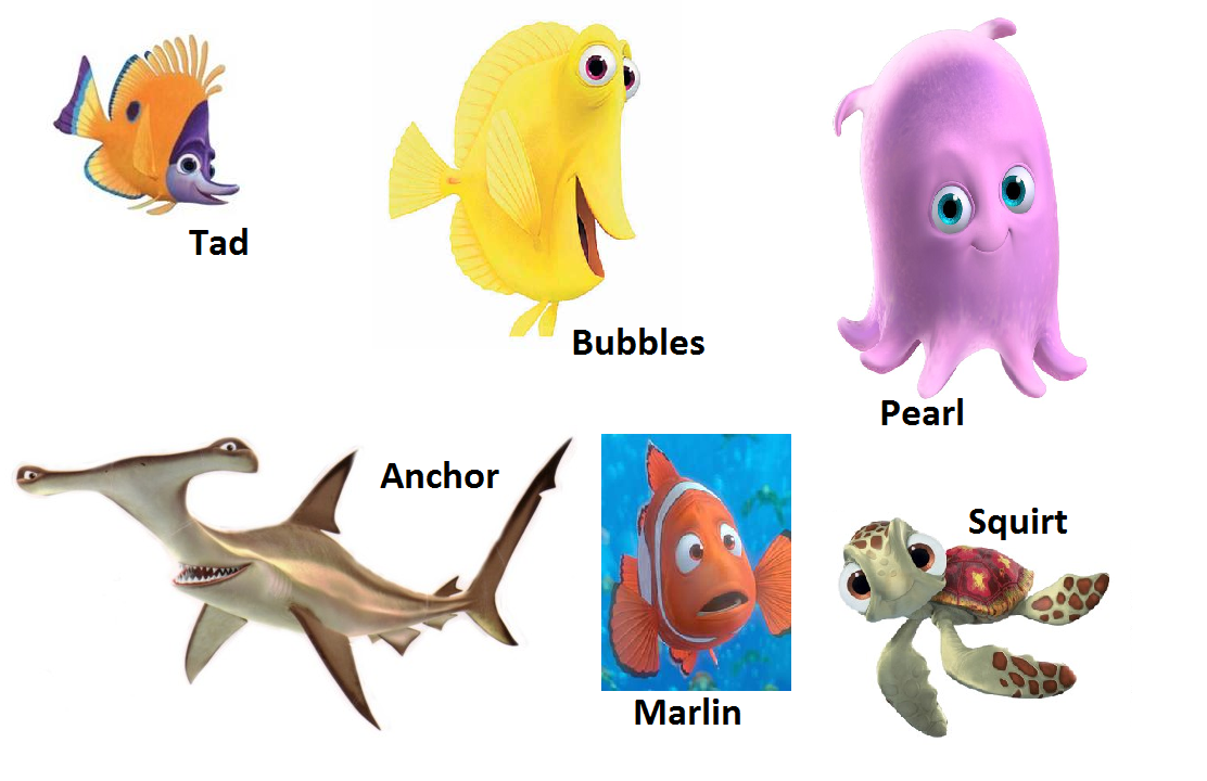 Image gallery nemo characters names for Finding nemo fish names