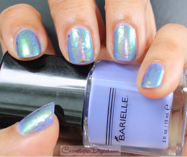 Periwinkle, glitter and duochrome manicure for Summer with Barielle, KB Shimmer and Sinful Colors