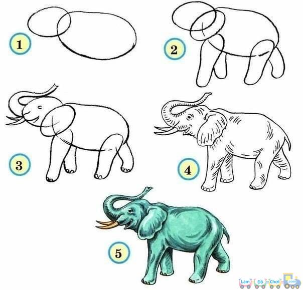 Vẽ hình con voi đơn giản