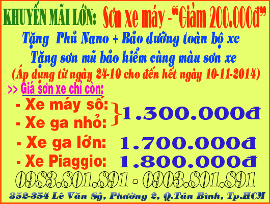 Sơn xe máy giảm 200.000đ và khuyến mãi lớn 600.000đ