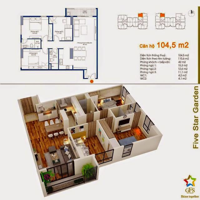Diện tích căn hộ 104,5m2 Five Star