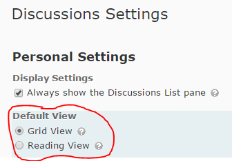 image of Personal Settings on Discussion Settings page.