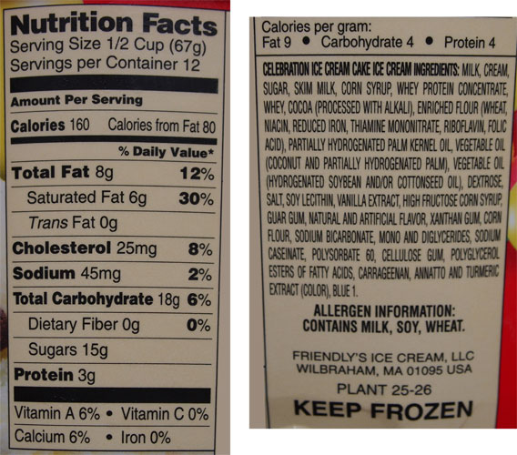 Friendly S Ice Cream Cake Nutrition Facts