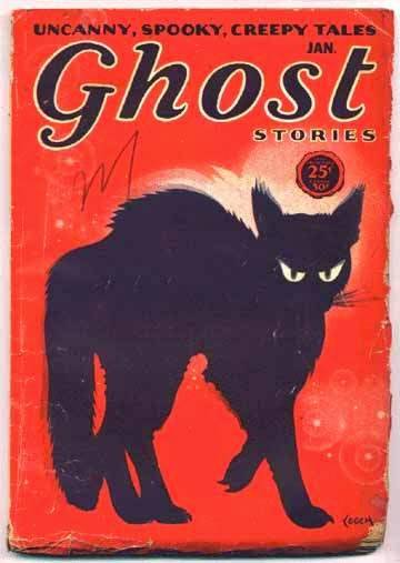 A pulp magazine cover with an image of a black cat.