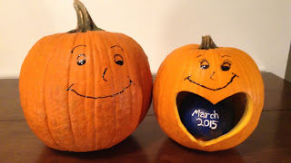 My daughter and son-in-law announced there pregnancy last fall by showing us these pumpkins that they carved.
