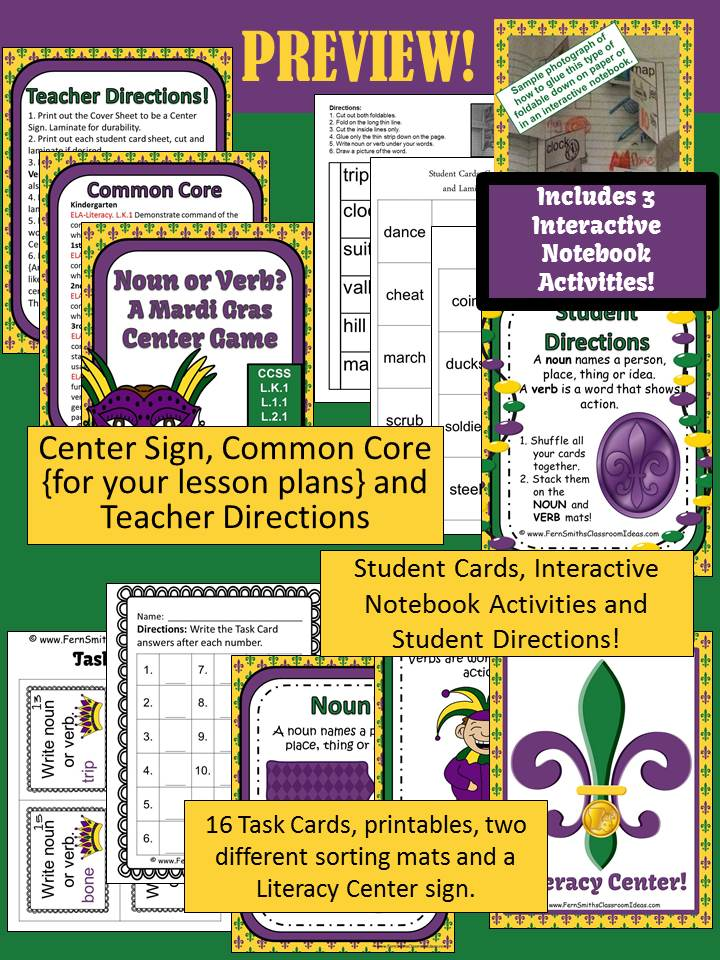 Fern Smith's Classroom Ideas Noun or Verb A Mardi Gras Celebration Packet