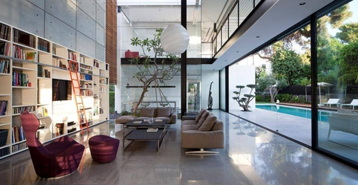 Open living room of Modern Bauhaus Mansion In Israel