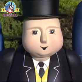 Standing on the platform two railway porters the Fat Controller waiting for Thomas and his friends