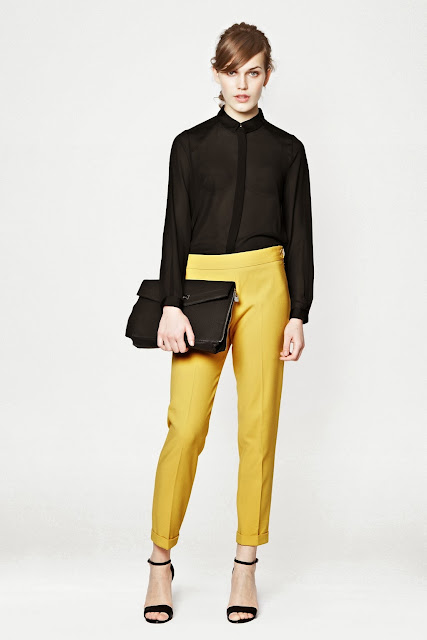 french connection yellow trousers