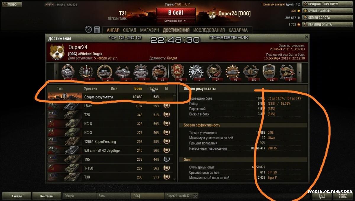 Статистику аккаунта в игре world of tanks