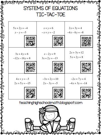 math worksheet : teaching high school math using qr codes to play tic tac toe : Tic Tac Toe Math Worksheets