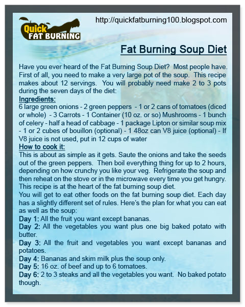 Fat burning soup diet 7 day