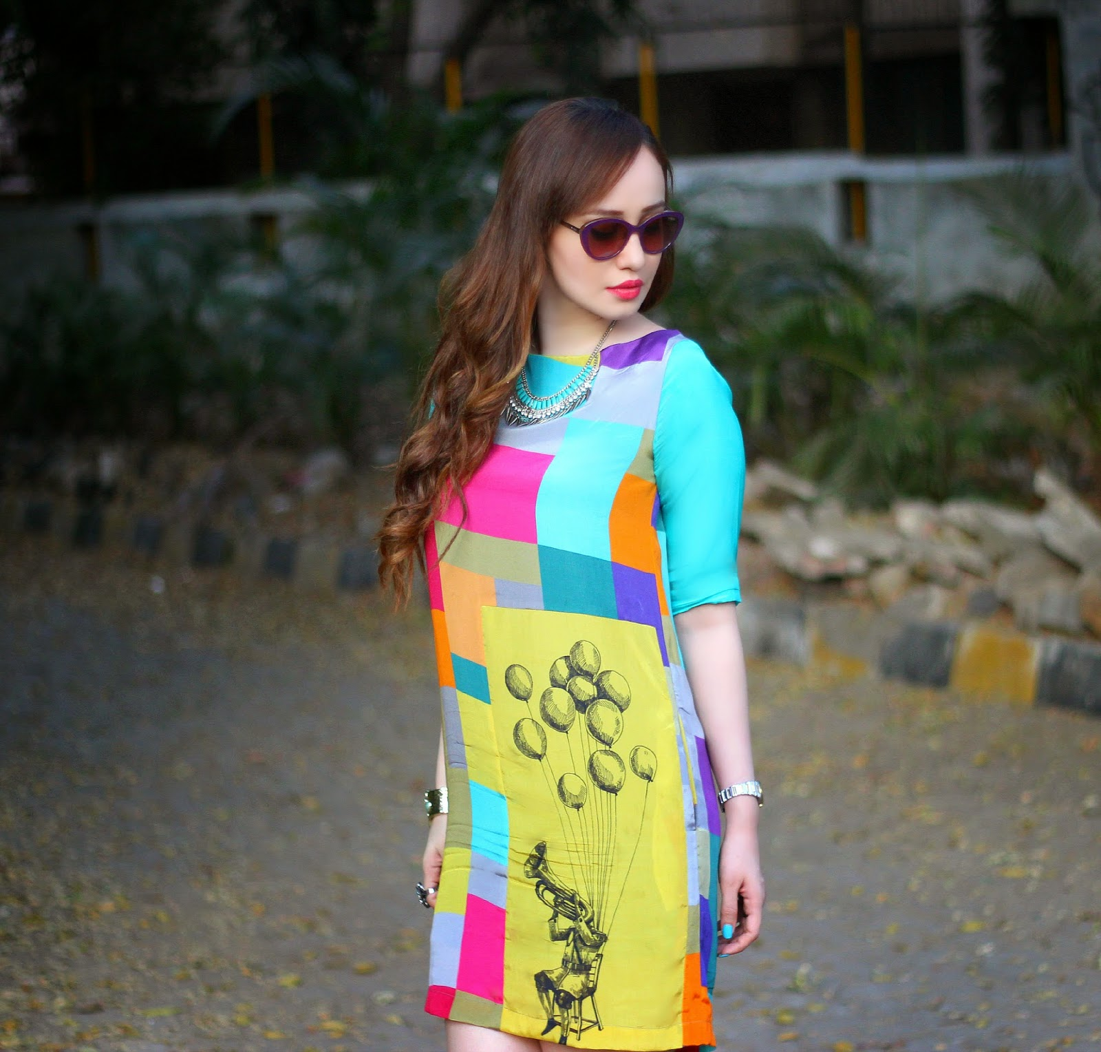 Quirk Box Bombay Balloons Art Print Shift Dress