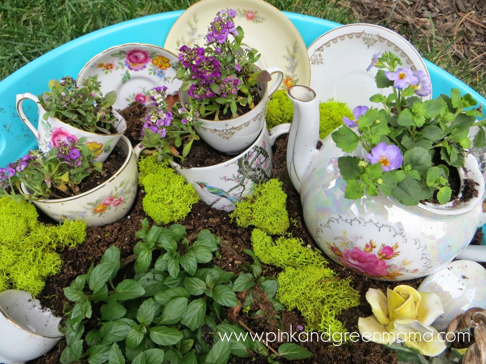 Pink and Green Mama Childs Dish Garden Inspired by