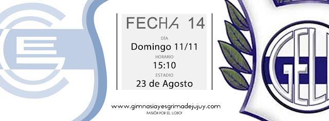 Fecha 14: Gimnasia de Jujuy vs. Gimnasia de la Plata