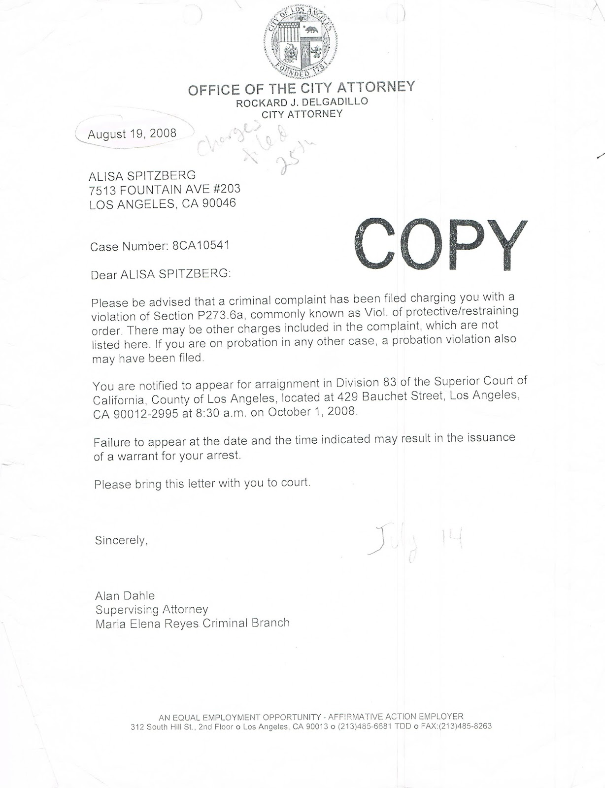 As You Can See A Charge Is Filed But Letter Sent Predates The Filing