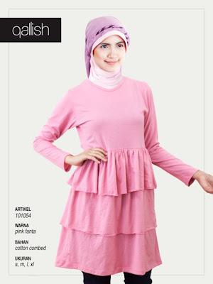 Produk Qallish Kaos Cardigan Koleksi Gamis Muslimah Pink Fanta