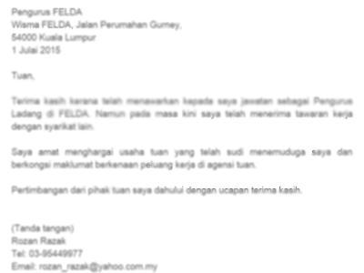 Contoh Surat Menolak Tawaran Kerja