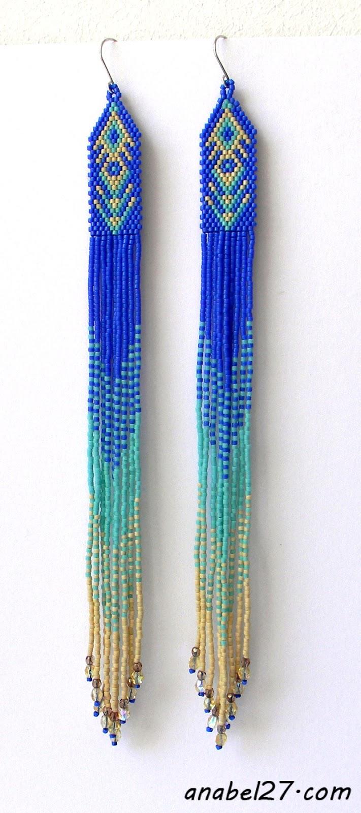 купить очень длинные серьги легкие не тяжелые нетяжелые сережки из бисера
