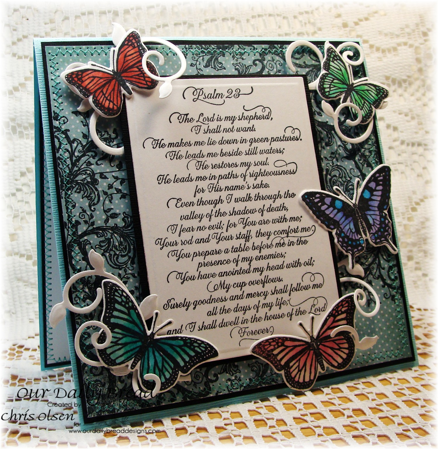 Stamps - Our Daily Bread Designs Belles Vinges, Trois Jolies Papillons, Psalm 23 Script, ODBD Custom Dies: Trois Papillons, Fancy Foliage, ODBD  Christmas 2014 Paper Collection