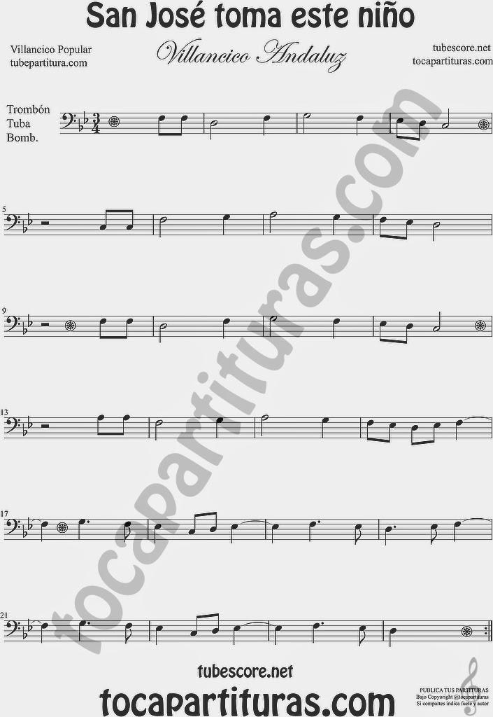 San José toma este niño  Partitura de Trombón, Tuba Elicón y Bombardino Sheet Music for Trombone, Tube, Euphonium Music Scores