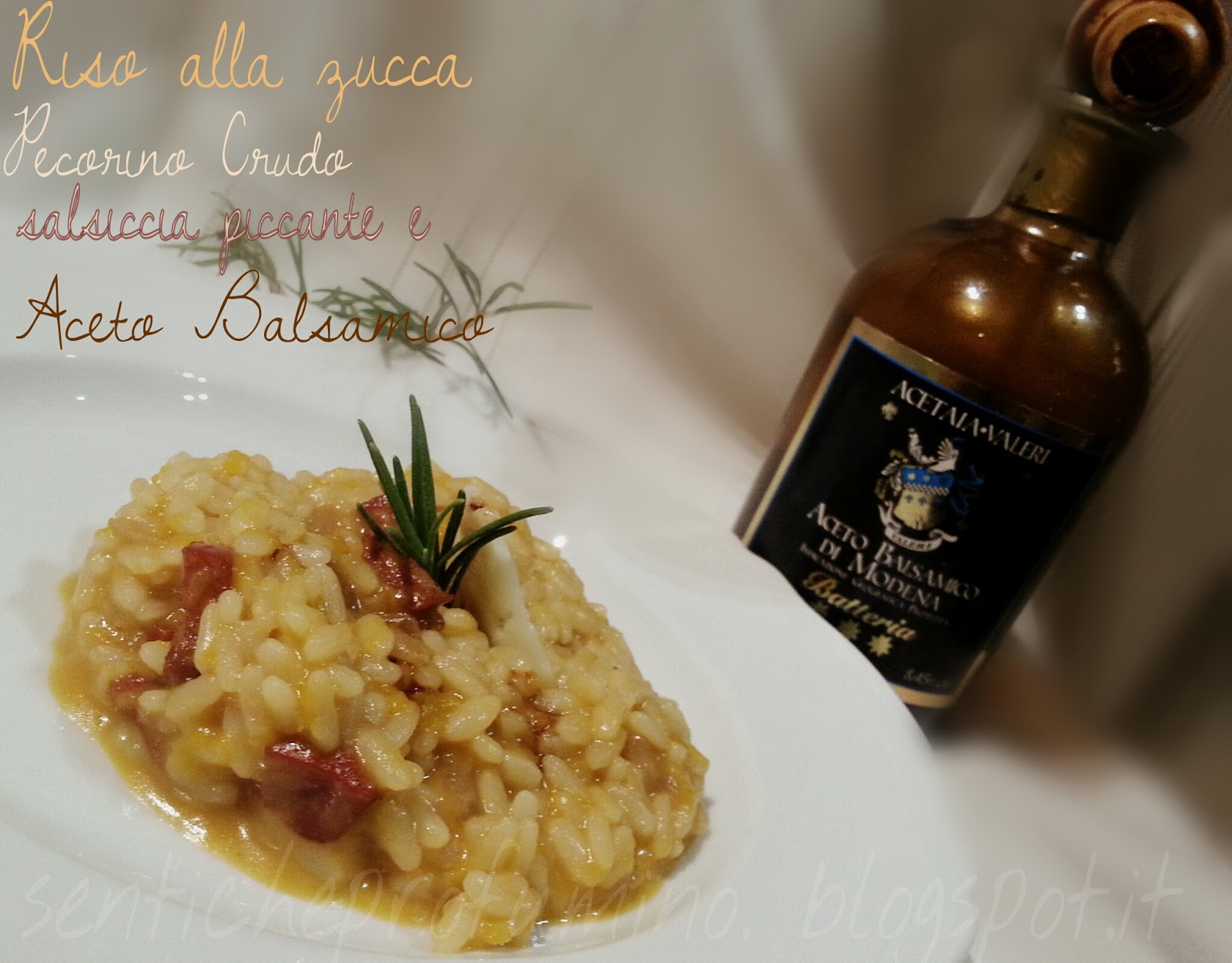 Risotto alla zucca con salsiccia piccante pecorino crudo e Aceto balsamico