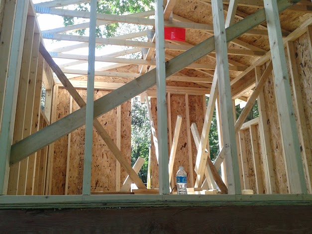Squaring the walls and bracing for roof sheathing.